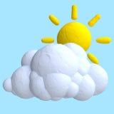 Nuvem e sol dos desenhos animados do plasticine ou da argila Imagens de Stock
