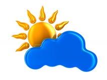 Nuvem e sol no fundo branco Ilustração 3d isolada Imagens de Stock Royalty Free