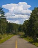 Nuvem, estrada e árvores Imagem de Stock Royalty Free