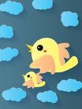 Nuvem gêmea da mosca do pássaro Fotos de Stock Royalty Free