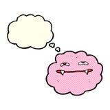 nuvem macia cor-de-rosa do vampiro dos desenhos animados com bolha do pensamento Imagens de Stock Royalty Free