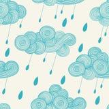 Nuvem ondulada desenhado à mão abstrata com pingos de chuva Vector o teste padrão sem emenda Imagens de Stock