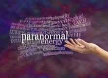 Nuvem paranormal da palavra dos fenômenos ilustração royalty free