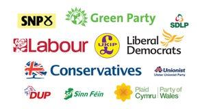 Nuvem parlamentar BRITÂNICA da etiqueta dos logotipos do partido político de eleição geral Fotografia de Stock Royalty Free
