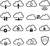 A nuvem presta serviços de manutenção à coleção do ícone Imagens de Stock