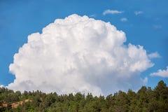 Nuvem pufy grande sobre a floresta fotos de stock