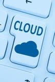 Nuvem que computa o computador em linha do Cyberspace dos dados das economias do Internet fotografia de stock