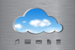 Nuvem que computa o conceito abstrato com ícones Fotografia de Stock
