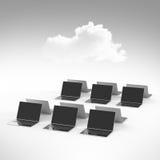 Nuvem que computa o sinal 3d no laptop Fotografia de Stock