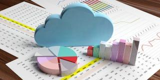 Nuvem que computa o stats Nuvem azul em cartas da análise de dados ilustração 3D ilustração do vetor