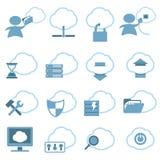 Nuvem que hospeda os ícones ajustados Imagens de Stock