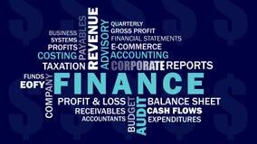 Nuvem relacionada da palavra das palavras das finanças empresariais e explicar ilustração do vetor