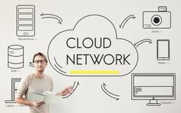 A nuvem separa transferência que compartilha do conceito da rede Imagens de Stock Royalty Free