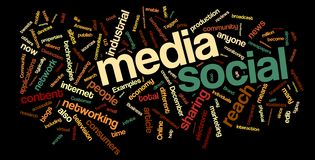 Nuvem social da palavra dos media Imagem de Stock