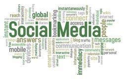 Nuvem social da palavra dos media Imagens de Stock Royalty Free
