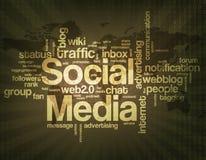 Nuvem social da palavra dos meios Imagens de Stock Royalty Free