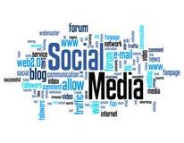Nuvem social da palavra dos meios Fotografia de Stock Royalty Free