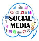 Nuvem social dos media ilustração do vetor