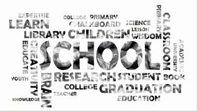 Nuvem video da palavra sobre a escola no cinza de prata da cor filme