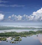 Nuvens acima da planície inundada Foto de Stock Royalty Free