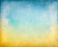 Nuvens azuis amarelas Fotografia de Stock
