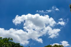 Nuvens brancas, macias no céu azul Fotos de Stock Royalty Free