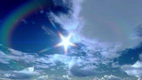 Nuvens celestiais de Timelapse, nascer do sol à tarde vídeos de arquivo