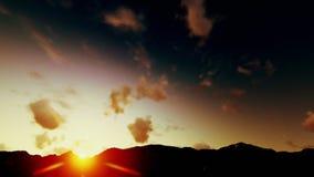 Nuvens celestiais de Timelapse, nascer do sol sobre montanhas video estoque