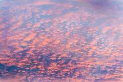Nuvens coloridas no céu com rosa brilhantes sobre o interior Austrália, como uma pintura imagem de stock