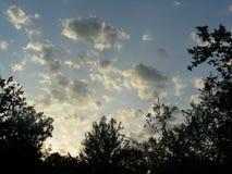 Nuvens crepusculares nos jardins imagem de stock