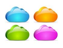 Nuvens 3d de vidro Fotografia de Stock Royalty Free