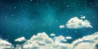 Nuvens da aquarela nightly ilustração royalty free