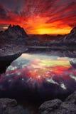 Nuvens da laranja do por do sol Fotografia de Stock