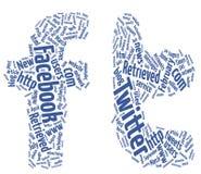Nuvens da palavra do facebook do Twitter Imagens de Stock