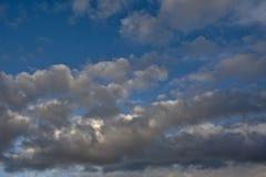 Nuvens de cúmulo cinzentas escuras em um céu azul Imagem de Stock