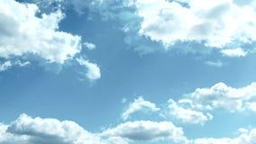 Nuvens de cúmulo da beleza que correm nas imagens de vídeo do timelapse do céu azul video estoque