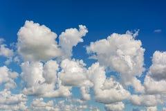 Nuvens de cúmulo-nimbo brancas, altas contra o céu azul Imagem de Stock Royalty Free