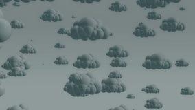 Nuvens de chuva do voo dos desenhos animados em um céu nebuloso ilustração stock