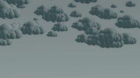 Nuvens de chuva do voo dos desenhos animados em um céu nebuloso ilustração royalty free