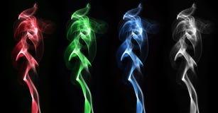 Nuvens de fumo coloridas ajustadas Fotografia de Stock