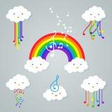 Nuvens de Kawaii e ícone do arco-íris imagens de stock royalty free