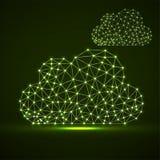 Nuvens de linhas e de pontos de incandescência, estrutura poligonal abstrata ilustração stock
