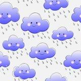Nuvens de sorriso bonitos com chuva Imagem de Stock Royalty Free