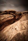 Nuvens de tempestade acima de uma paisagem do deserto Fotografia de Stock