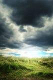Nuvens de tempestade pesadas sobre um campo de grama verde Imagens de Stock