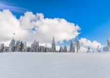 Nuvens do inverno e céu azul foto de stock