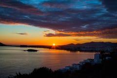 Nuvens do por do sol de Ibiza Fotografia de Stock