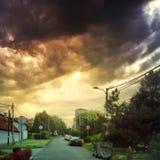 Nuvens do por do sol em Zemun foto de stock