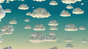 Nuvens do voo dos desenhos animados no céu da manhã ilustração stock