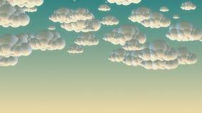 Nuvens do voo dos desenhos animados no céu da manhã ilustração royalty free